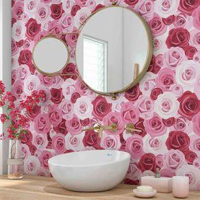 Papel de Parede Adesivo Flores Rosas do Buquê FL13057