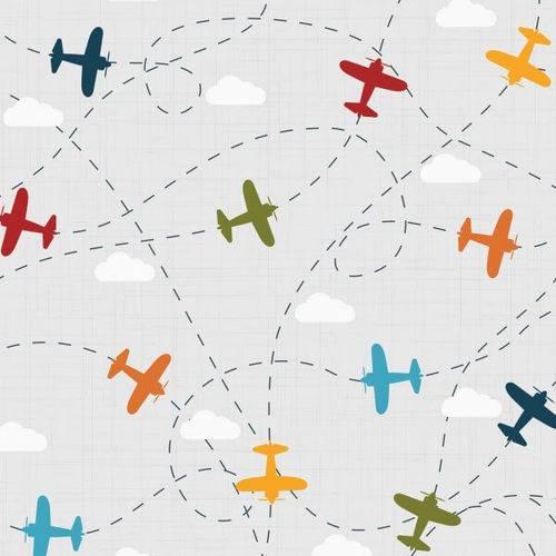 Papel de Parede Adesivo Infantil Aviões 2,70x0,57m