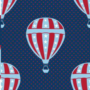 Papel de Parede Adesivo Infantil Azul e Vermelho Quarto de Menino Balão IF122375