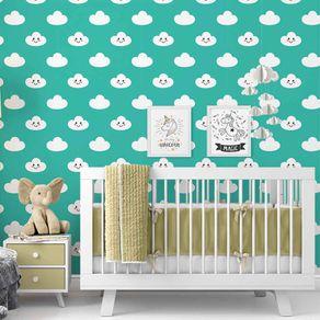 Papel de Parede Adesivo Infantil Azul Quarto Nuvenzinha Soridente IF122370