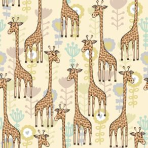 Papel de Parede Adesivo Infantil Bege Quarto Girafinhas Felizes IF122394