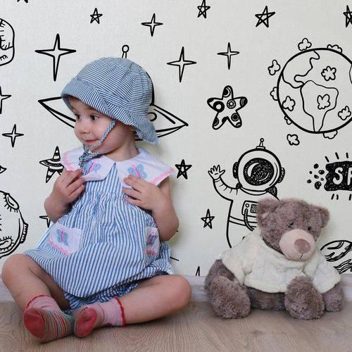 Papel de Parede Adesivo Infantil Espaço Astronauta Quarto