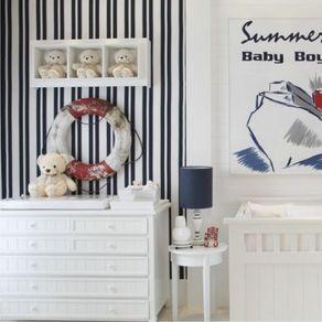Papel de Parede Adesivo Infantil Listrado Azul Marinho Quarto de Bebê Menino Baby Boy LT18119
