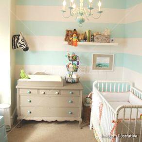 Papel de Parede Adesivo Infantil Listrado Verde Quarto de Bebê Lia LT18132