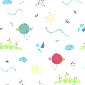Papel de Parede Adesivo Infantil Quarto de Bebê Desenhado à Mão IF122385