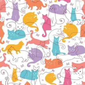 Papel de Parede Adesivo Infantil Quarto Kitty Cats IF12183