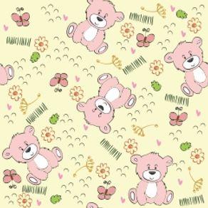 Papel de Parede Adesivo Infantil Quarto Ursinhos Rosa IF12038