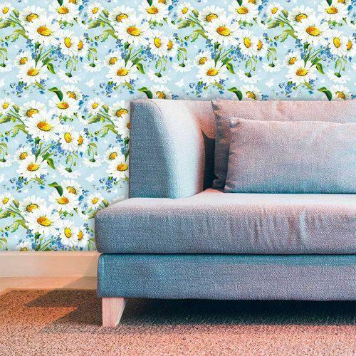 Papel de Parede Adesivo Lavável Floral Margaridas com Azul