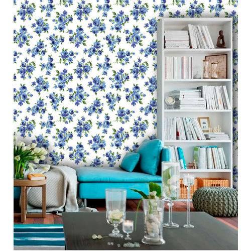 Papel de Parede Adesivo Lavável Floral Azul Marinho de