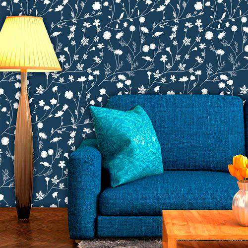 Papel de Parede Adesivo Lavável Floral Azul Marinho