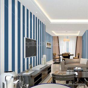 Papel de Parede Adesivo Listrado Vertical Azul e Branco Sala de Tv Isadora LT18110