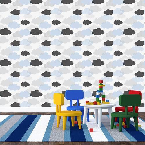 Papel de Parede Adesivo - Nuvens Azuis - 037ppb
