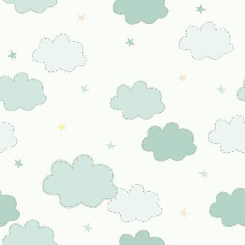 Papel de Parede Adesivo - Nuvens e Estrelas - N0027