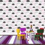 Papel de Parede Adesivo - Nuvens Rosas - X036ppb