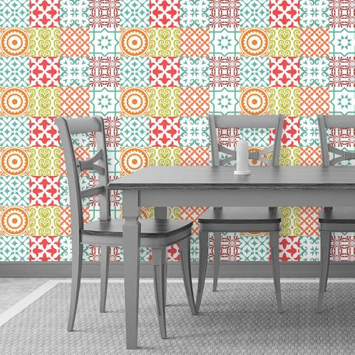 Papel de Parede Adesivo Rolo 0,58x3,00M Azulejo Abstrato 88830