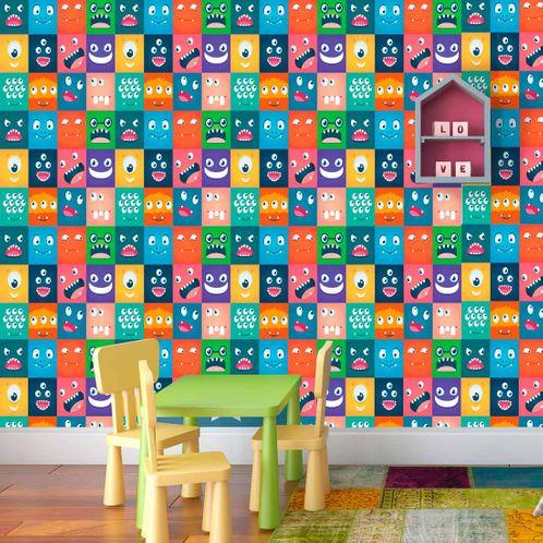 Papel de Parede Adesivo Rolo 0,58x3,00M Azulejo Carinhas 28581488