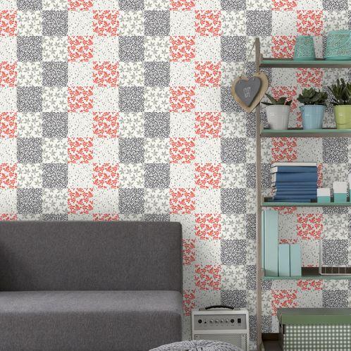 Papel de Parede Adesivo Rolo 0,58x3,00M Azulejo Floral 232743748