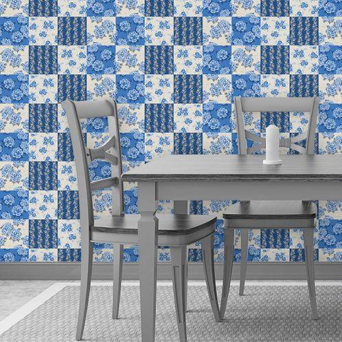 Papel de Parede Adesivo Rolo 0,58x3,00M Azulejo Flores 129541532