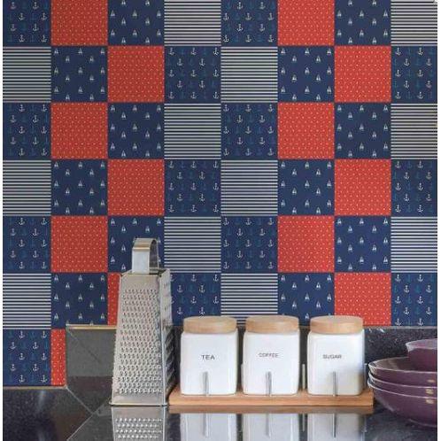 Papel de Parede Adesivo Rolo 0,58x3,00M Azulejo Marinha 250301923