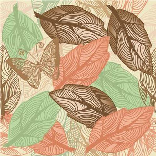 Papel de Parede Adesivo Rolo 0,58x3,00M Borboleta Folhas Marrom Verde Vermelho 817166321