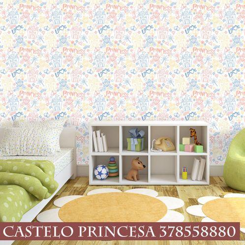Papel de Parede Adesivo Rolo 0,58x3,00M Castelo Princesa 378558880
