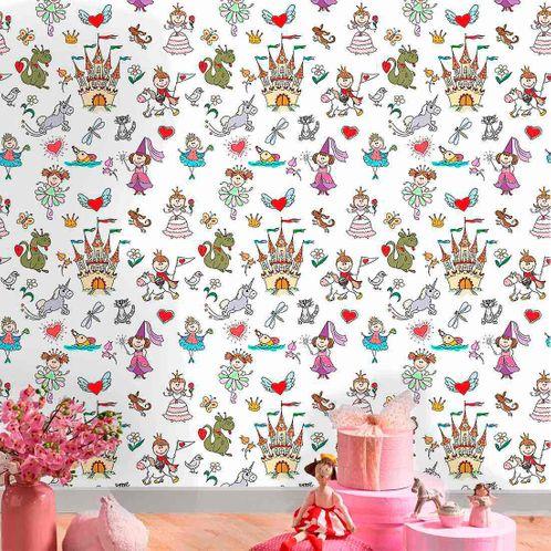Papel de Parede Adesivo Rolo 0,58x3,00M Castelo Unicornio Principe Princesa Dragao 378321346