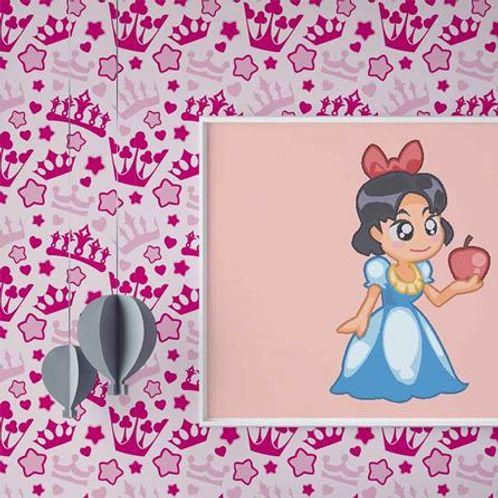 Papel de Parede Adesivo Rolo 0,58x3,00M Coroa Estrela Menina Infantil 283664594