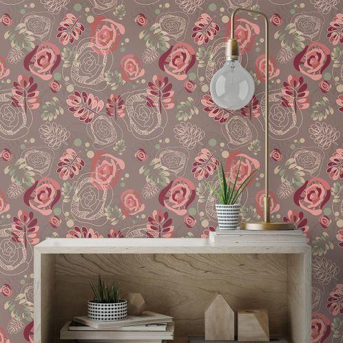 Papel de Parede Adesivo Rolo 0,58x3,00M Floral 210124