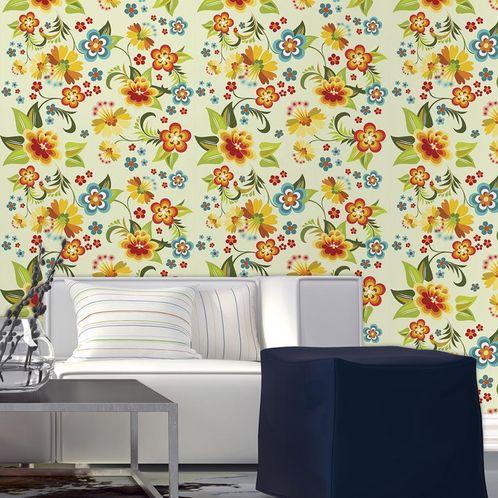 Papel de Parede Adesivo Rolo 0,58x3,00M Floral 1309