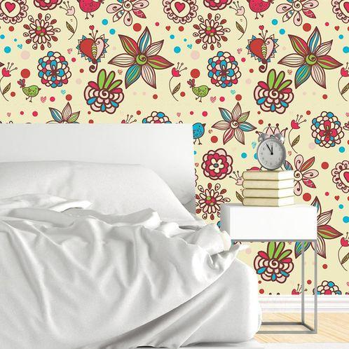 Papel de Parede Adesivo Rolo 0,58x3,00M Floral 32