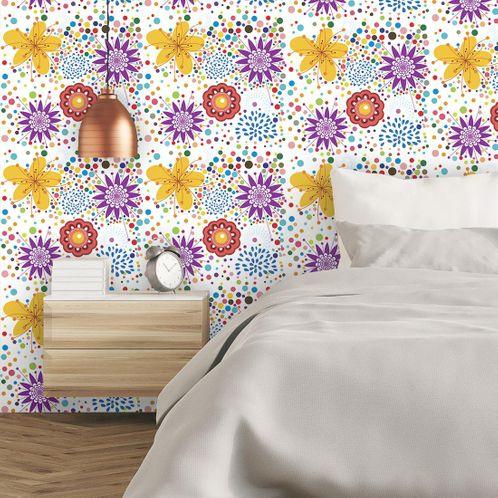 Papel de Parede Adesivo Rolo 0,58x3,00M Floral 520