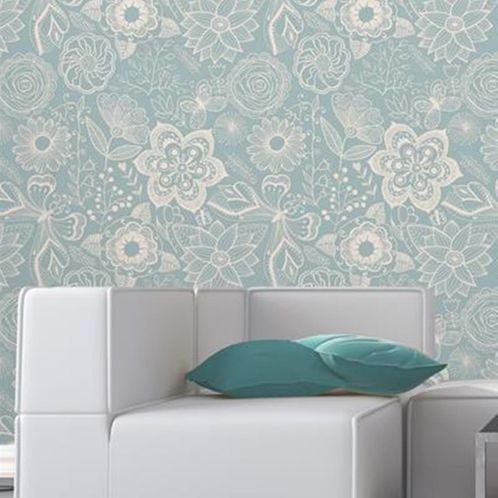 Papel de Parede Adesivo Rolo 0,58x3,00M Floral 350