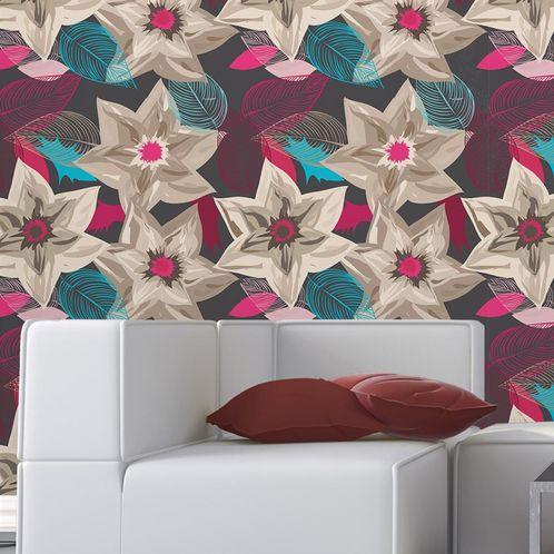 Papel de Parede Adesivo Rolo 0,58x3,00M Floral 670