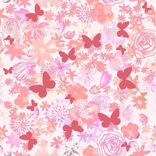 Papel de Parede Adesivo Rolo 0,58x3,00M Flores Borboletas 285850043