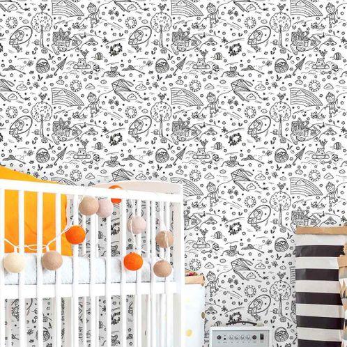 Papel de Parede Adesivo Rolo 0,58x3,00M Infantil para Colorir 392769844