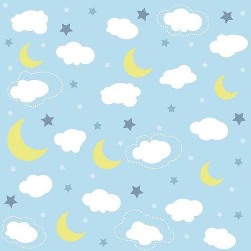 Papel de Parede Adesivo Rolo 0,58x3,00M Lua Amarela Nuvem Estrela 188761154