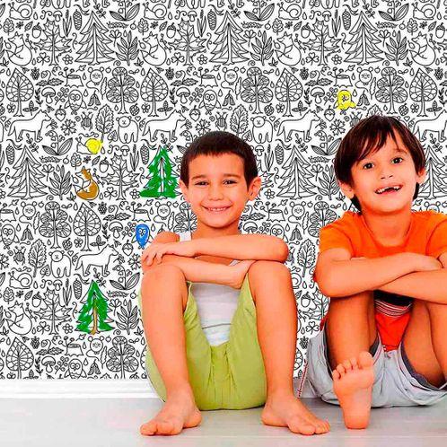 Papel de Parede Adesivo Rolo 0,58x3,00M para Colorir 350706731
