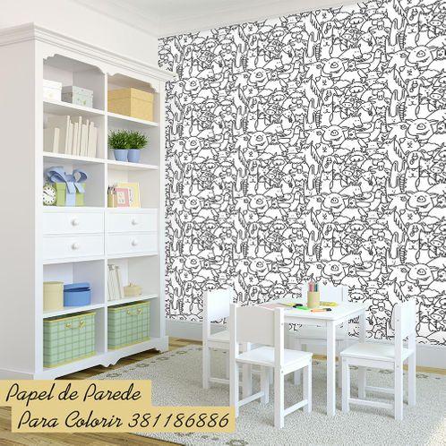 Papel de Parede Adesivo Rolo 0,58x3,00M para Colorir 381186886