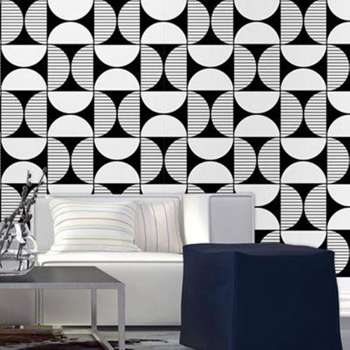 Papel de Parede Adesivo Rolo 0,58x3,00M Preto e Branco 0200