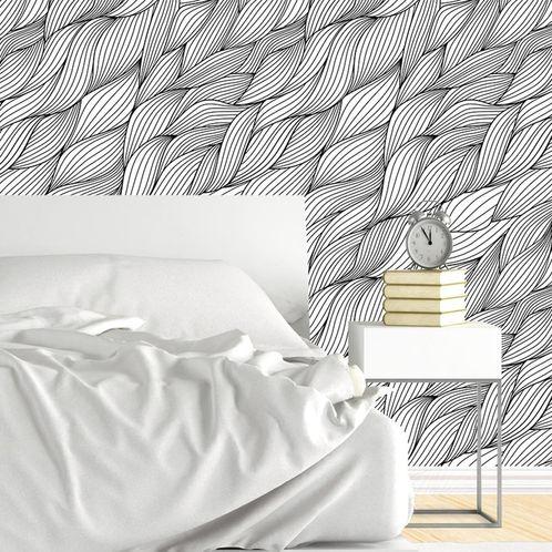 Papel de Parede Adesivo Rolo 0,58x3,00M Preto e Branco 0305