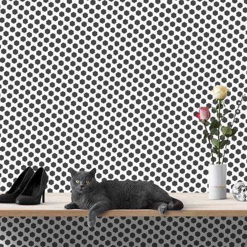 Papel de Parede Adesivo Rolo 0,58x3,00M Preto e Branco 455
