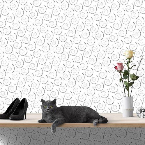 Papel de Parede Adesivo Rolo 0,58x3,00M Preto e Branco 466