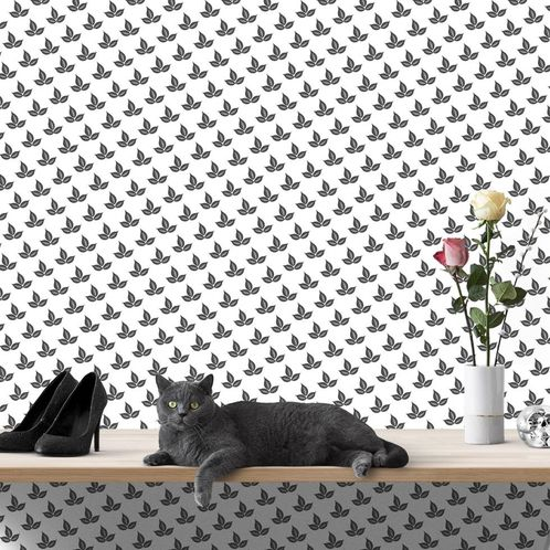 Papel de Parede Adesivo Rolo 0,58x3,00M Preto e Branco 468