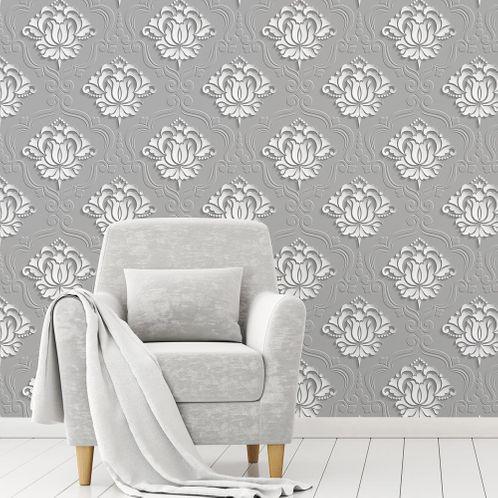 Papel de Parede Adesivo Rolo 0,58x3,00M Vintage Arabesco Floral Efeito 3D Cinza Branco 251587870