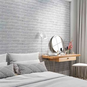 Papel de Parede Adesivo Tijolo Branco Rústico Gelo Decore-Me TJ14028