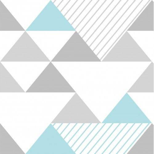 Papel de Parede Adesivo Triângulos Azul e Cinza