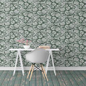 Papel de Parede Arabesco Vintage Verde Floresta - P