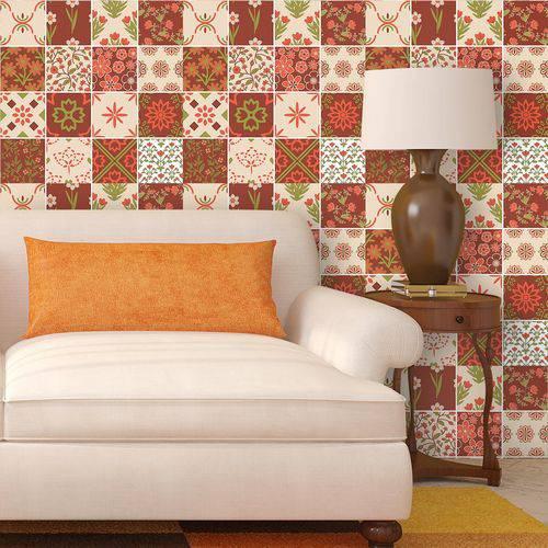 Papel de Parede Autocolante Azulejo Floral 305171351