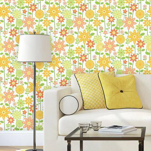 Papel de Parede Autocolante Floral Amarelo 1426