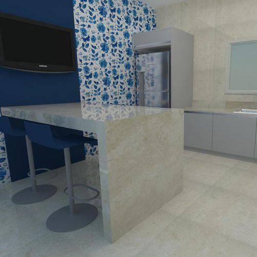 Papel de Parede Autocolante Floral Azul 213605350